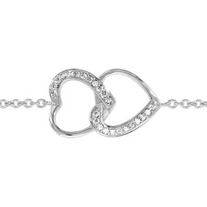 1001 Bijoux - Bracelet argent rhodié double coeurs superposés oxydes blancs sertis 16+2cm pas cher