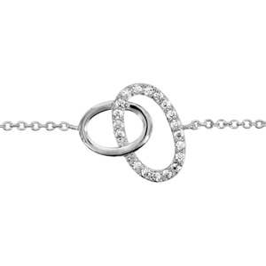 1001 Bijoux - Bracelet argent rhodié 2 ovales entremêlés oxydes blancs sertis 16+2cm pas cher