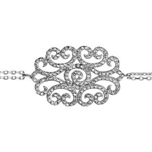 1001 Bijoux - Bracelet argent rhodié double chaîne motif spirales oxydes blancs sertis 16+3cm pas cher
