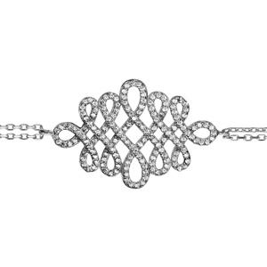 Image of Bracelet argent rhodié motif forme serpentin oxydes blancs sertis 16+3cm