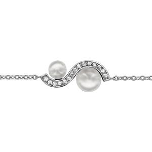 1001 Bijoux - Bracelet argent rhodié forme vague oxydes blancs sertis avec 2 perles blanches d'eau douce 16+2cm pas cher