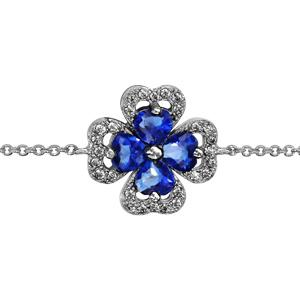 1001 Bijoux - Bracelet argent rhodié trèfle pierre bleu entourage oxydes blancs sertis 16+2cm pas cher