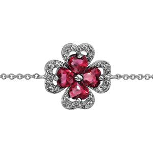 1001 Bijoux - Bracelet argent rhodié trèfle pierre rouge entourage oxydes blancs sertis 16+2cm pas cher