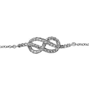 1001 Bijoux - Bracelet argent rhodié noeud marin oxydes blancs sertis 16+2cm pas cher