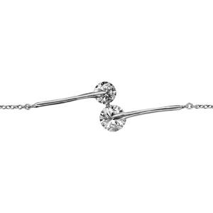 1001 Bijoux - Bracelet argent rhodié pendante oxyde blanc 16+2cm pas cher