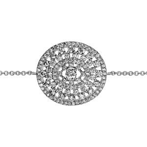 1001 Bijoux - Bracelet argent rhodié forme ovale ajourée oxydes blancs sertis 16+2cm pas cher