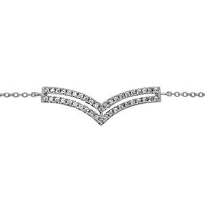 """1001 Bijoux - Bracelet argent rhodié double """"v"""" superposés oxydes blancs sertis 16+2cm pas cher"""