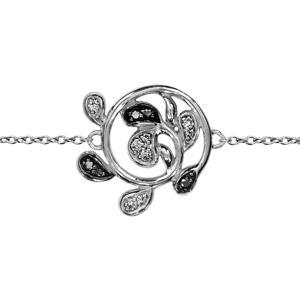 1001 Bijoux - Bracelet argent rhodié motif rond feuilles pierres noires et oxydes blancs sertis 16+3cm pas cher