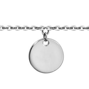 1001 Bijoux - Bracelet argent rhodié enfant médaille 10mm à graver longueur 14+2cm pas cher
