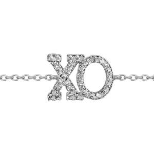 1001 Bijoux - Bracelet argent rhodié decoupe xo oxydes blancs sertis symbole etreinte et baiser 16+3cm pas cher