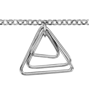 1001 Bijoux - Bracelet argent rhodié 3 triangles enchassés pendants 16+3cm pas cher