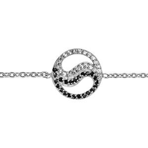 Image of Bracelet argent rhodié ying yang pierres noires et oxydes blancs sertis 15,5+2cm