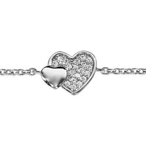 Image of Bracelet argent rhodié double coeur pave oxydes blancs et lisse 16+2cm