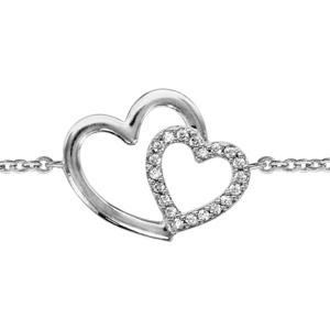 Image of Bracelet argent rhodié double coeur croisé oxydes blancs 16+2cm