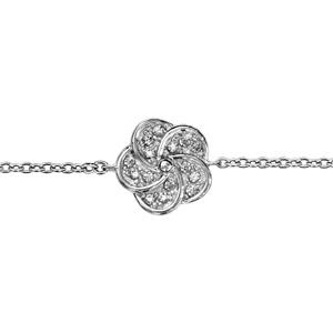 1001 Bijoux - Bracelet argent rhodié forme fleur oxydes blancs 16+2cm pas cher