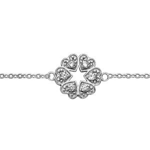 1001 Bijoux - Bracelet argent rhodié multi coeurs oxydes blancs sertis 16+3cm pas cher