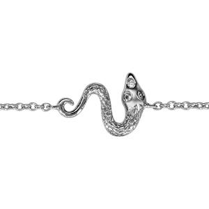 1001 Bijoux - Bracelet argent rhodié serpent oxydes blancs 16+2cm pas cher
