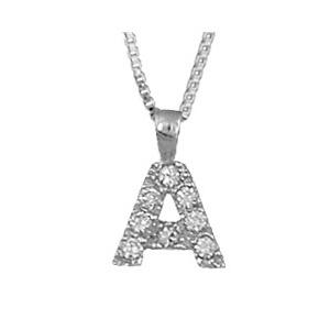 """1001 Bijoux - Pendentif lettre """" A """" en argent rhodié serti de zirconias + collier en argent rhodié maille Carrée pas cher"""