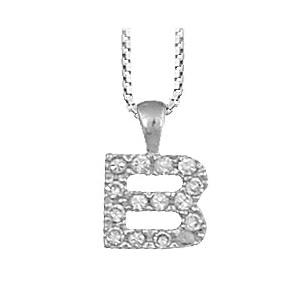 """1001 Bijoux - Pendentif lettre """" B """" en argent rhodié serti de zirconias + collier en argent rhodié maille Carrée pas cher"""