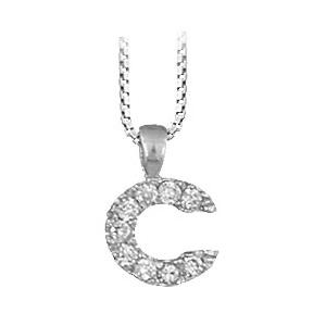 """1001 Bijoux - Pendentif lettre """" C """" en argent rhodié serti de zirconias + collier en argent rhodié maille Carrée pas cher"""