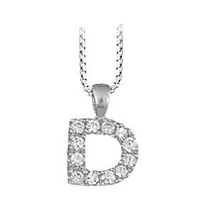 """1001 Bijoux - Pendentif lettre """" D """" en argent rhodié serti de zirconias + collier en argent rhodié maille Carrée pas cher"""