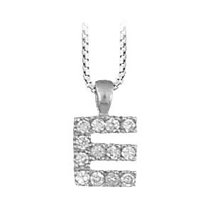 """1001 Bijoux - Pendentif lettre """" E """" en argent rhodié serti de zirconias + collier en argent rhodié maille Carrée pas cher"""