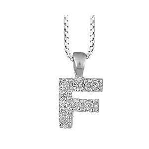 """1001 Bijoux - Pendentif lettre """" F """" en argent rhodié serti de zirconias + collier en argent rhodié maille Carrée pas cher"""