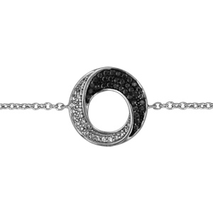 Image of Bracelet argent rhodié cercle oxydes noirs et blancs 16+2cm