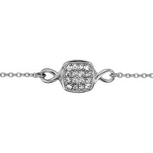 Image of Bracelet argent rhodié pavé oxydes blancs sertis 16+3cm