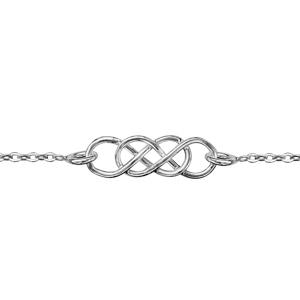 Image of Bracelet argent rhodié double infini 16+3cm