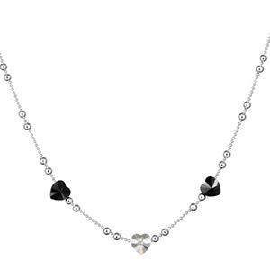 1001 Bijoux - Collier argent rhodié boules et motifs coeurs noirs et coeur blanc pas cher