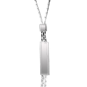 Collier argent forme Y chaine paloma diamantée pendant plaque
