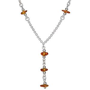 Collier argent forme Y chaine forçat et pendant ambre naturel réglable