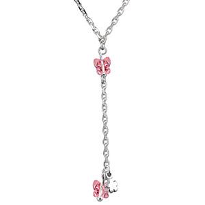 Collier argent forme Y chaine forçat et pendant papillons roses réglable