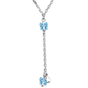Collier argent forme Y chaine forçat et pendant papillons bleus réglable