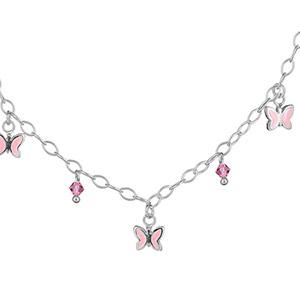 Collier argent pampilles papillons roses et zirconias roses réglable