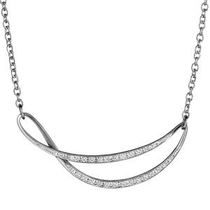 Collier argent rhodié pendentif fantaisie et pierres blanches - 44cm réglable 41cm