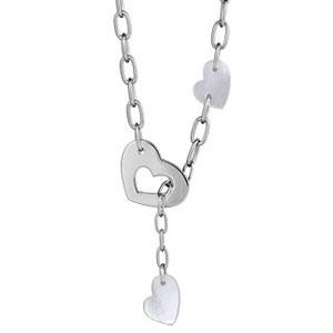 Collier argent rhodié coeur et 2 coeurs de nacre blanche - 44cm réglable 42cm