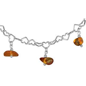 1001 Bijoux - Collier argent multi coeurs ambre véritable pas cher