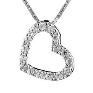 1001 Bijoux - Collier argent rhodié pendentif petit coeur pierres blanches pas cher