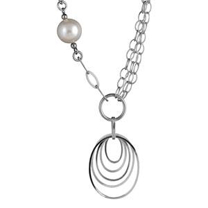 Image of Collier argent rhodié multi chaines pendentifs 5 cercles et perles blanches réglable 45cm
