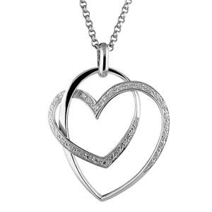 1001 Bijoux - Collier argent rhodié double coeur pierres blanches pas cher