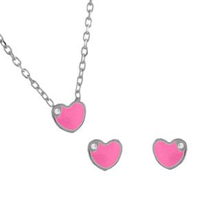 Parure Enfant argent rhodié coeur rose plus petite pierre blanche