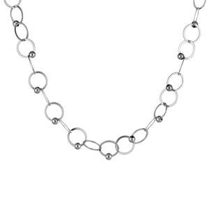 1001 Bijoux - Collier argent rhodié maille anneau et petites boules réglable 42+3cm pas cher