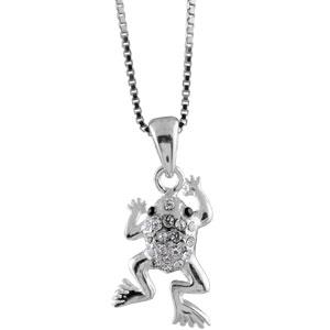 Image of Collier argent rhodié pendentif grenouille pierres blanches 42cm