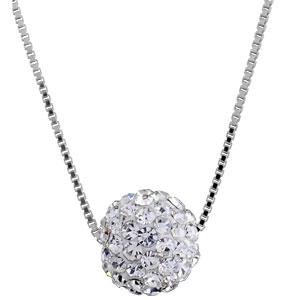 Image of Collier argent rhodié grosse boule pierres blanches 38+5cm