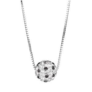 Image of Collier argent rhodié pendentif boule résine strass blancs et noirs réglable 38+5cm