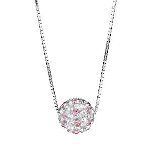 Image of Collier argent rhodié pendentif boule résine strass blancs et roses réglable 38+5cm