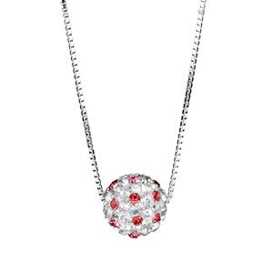 Image of Collier argent rhodié pendentif boule résine strass blancs et rouges réglable 38+5cm