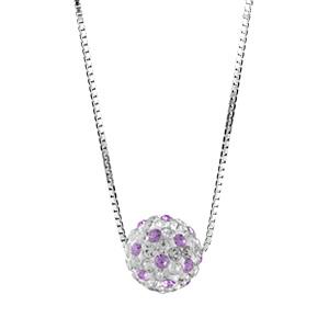 Image of Collier argent rhodié pendentif boule résine strass blancs et violets réglable 38+5cm